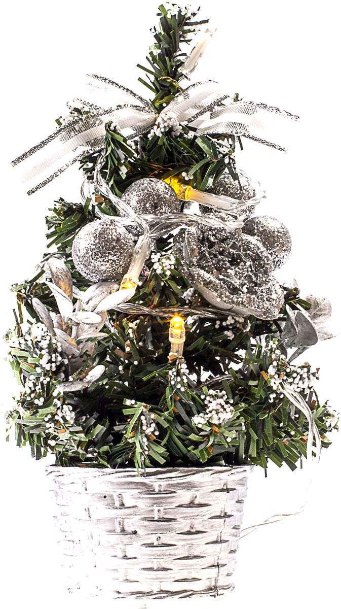 Елка настольная c игрушками и гирляндой Vita Pelle, 20 см. K11EL3008K11EL3008Милая наряженная елочка в корзинке украшена игрушками, мишурой и гирляндой. Она будет уместна и дома, и в офисе. Весело подмигивая всеми своими огоньками, она преобразит пространство, подарив праздник и новогоднее настроение.