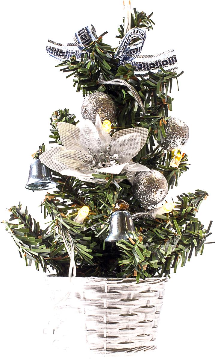 Елка настольная c игрушками и гирляндой Vita Pelle, 20 см. K11EL3010K11EL3010Милая наряженная елочка в корзинке украшена игрушками, мишурой и гирляндой. Она будет уместна и дома, и в офисе. Весело подмигивая всеми своими огоньками, она преобразит пространство, подарив праздник и новогоднее настроение.