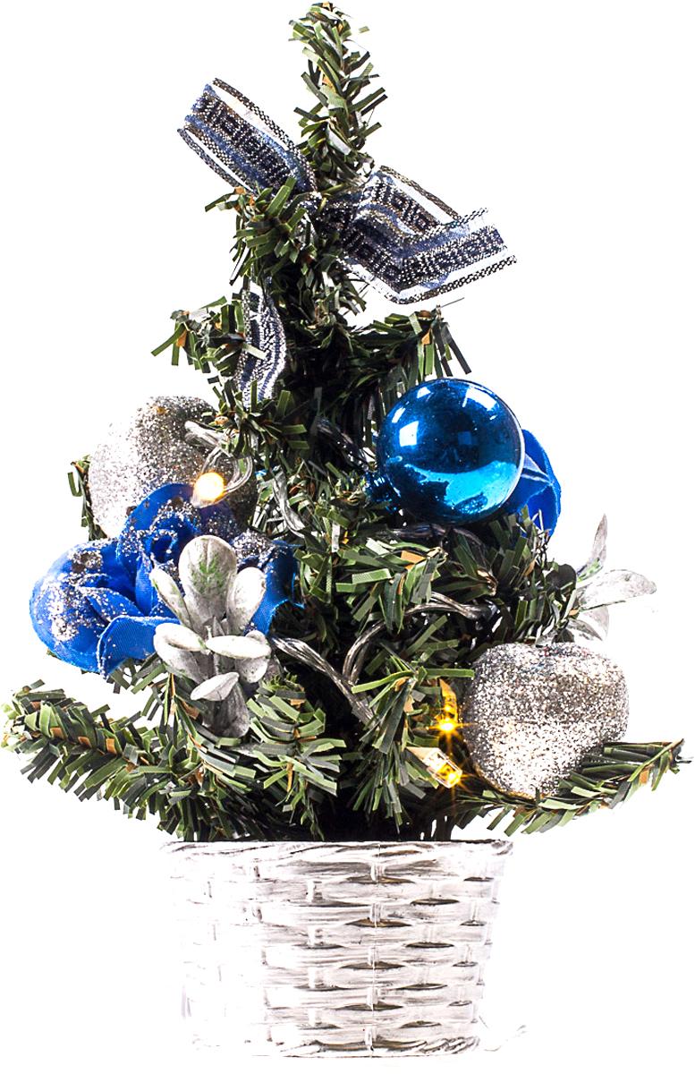 Елка настольная c игрушками и гирляндой Vita Pelle, 20 см. K11EL3013K11EL3013Милая наряженная елочка в корзинке украшена игрушками, мишурой и гирляндой. Она будет уместна и дома, и в офисе. Весело подмигивая всеми своими огоньками, она преобразит пространство, подарив праздник и новогоднее настроение.