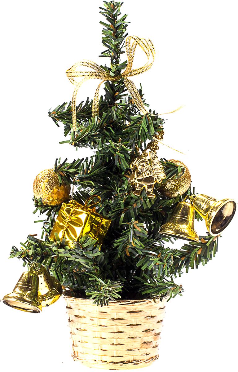 Елка настольная c игрушками Vita Pelle, 20 см. K11EL4001K11EL4001Милая наряженная елочка в корзинке украшена игрушками и мишурой. Она будет уместна и дома, и в офисе. Она преобразит пространство, подарив праздник и новогоднее настроение. Небольшой размер елочки позволит разместить ее где угодно.