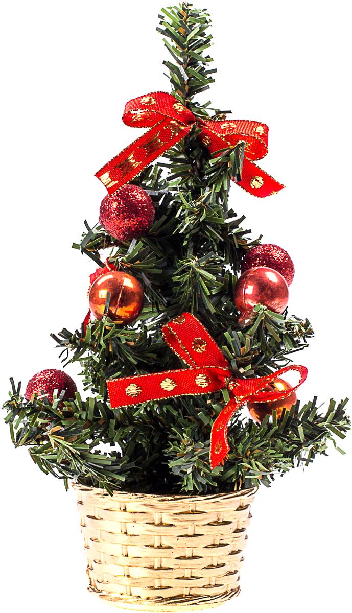Елка настольная c игрушками Vita Pelle, 20 см. K11EL4002K11EL4002Милая наряженная елочка в корзинке украшена игрушками и мишурой. Она будет уместна и дома, и в офисе. Она преобразит пространство, подарив праздник и новогоднее настроение. Небольшой размер елочки позволит разместить ее где угодно.
