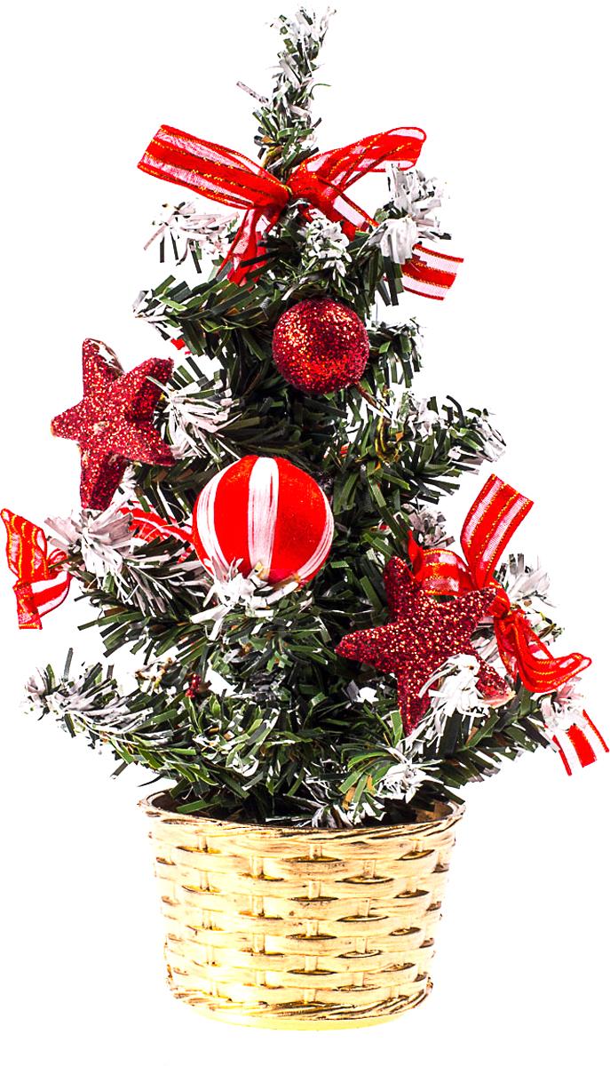 Елка настольная c игрушками Vita Pelle, 20 см. K11EL4003K11EL4003Милая наряженная елочка в корзинке украшена игрушками и мишурой. Она будет уместна и дома, и в офисе. Она преобразит пространство, подарив праздник и новогоднее настроение. Небольшой размер елочки позволит разместить ее где угодно.