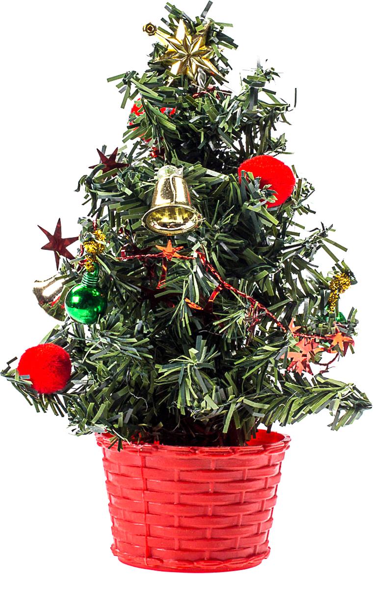 Елка настольная c игрушками Vita Pelle, 20 см. K11EL4005K11EL4005Милая наряженная елочка в корзинке украшена игрушками и мишурой. Она будет уместна и дома, и в офисе. Она преобразит пространство, подарив праздник и новогоднее настроение. Небольшой размер елочки позволит разместить ее где угодно.