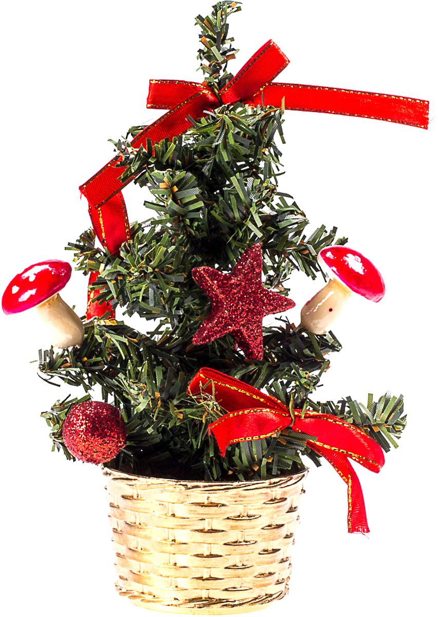 Елка настольная c игрушками Vita Pelle, 20 см. K11EL4007KP8012Милая наряженная елочка в корзинке украшена игрушками и мишурой. Она будет уместна и дома, и в офисе. Она преобразит пространство, подарив праздник и новогоднее настроение. Небольшой размер елочки позволит разместить ее где угодно.