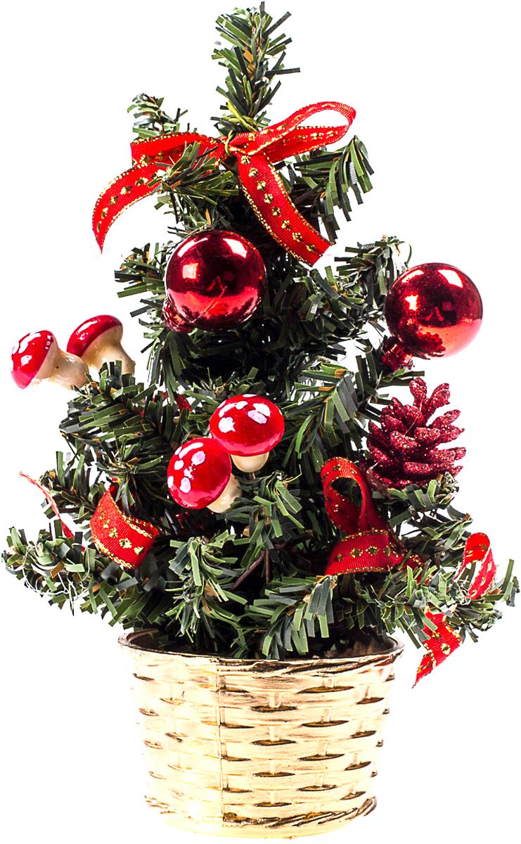 Елка настольная c игрушками Vita Pelle, 20 см. K11EL4008K11EL4008Милая наряженная елочка в корзинке украшена игрушками и мишурой. Она будет уместна и дома, и в офисе. Она преобразит пространство, подарив праздник и новогоднее настроение. Небольшой размер елочки позволит разместить ее где угодно.