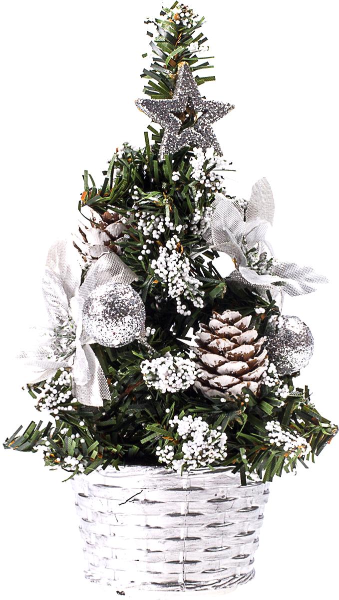 Елка настольная c игрушками Vita Pelle, 20 см. K11EL4010K11EL4010Милая наряженная елочка в корзинке украшена игрушками и мишурой. Она будет уместна и дома, и в офисе. Она преобразит пространство, подарив праздник и новогоднее настроение. Небольшой размер елочки позволит разместить ее где угодно.