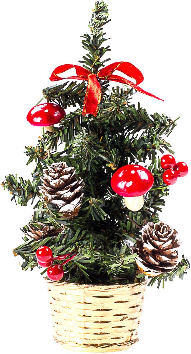 Елка настольная c игрушками Vita Pelle, 20 см. K11EL4012K11EL4012Милая наряженная елочка в корзинке украшена игрушками и мишурой. Она будет уместна и дома, и в офисе. Она преобразит пространство, подарив праздник и новогоднее настроение. Небольшой размер елочки позволит разместить ее где угодно.