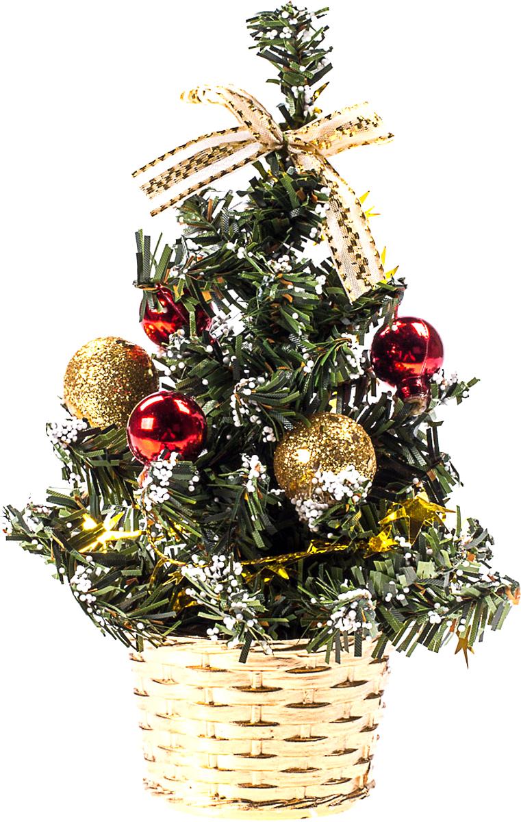 Елка настольная c игрушками Vita Pelle, 20 см. K11EL4016K11EL4016Милая наряженная елочка в корзинке украшена игрушками и мишурой. Она будет уместна и дома, и в офисе. Она преобразит пространство, подарив праздник и новогоднее настроение. Небольшой размер елочки позволит разместить ее где угодно.