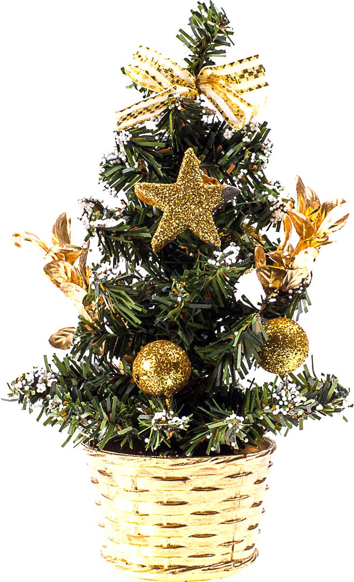 Елка настольная c игрушками Vita Pelle, 20 см. K11EL4017K11EL4017Милая наряженная елочка в корзинке украшена игрушками и мишурой. Она будет уместна и дома, и в офисе. Она преобразит пространство, подарив праздник и новогоднее настроение. Небольшой размер елочки позволит разместить ее где угодно.