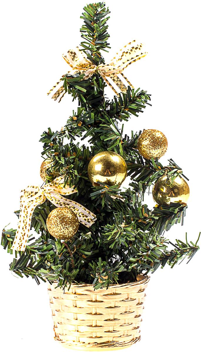 Елка настольная c игрушками Vita Pelle, 20 см. K11EL4019K11EL4019Милая наряженная елочка в корзинке украшена игрушками и мишурой. Она будет уместна и дома, и в офисе. Она преобразит пространство, подарив праздник и новогоднее настроение. Небольшой размер елочки позволит разместить ее где угодно.