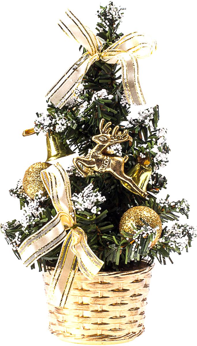 Елка настольная c игрушками Vita Pelle, 20 см. K11EL4022K11EL4022Милая наряженная елочка в корзинке украшена игрушками и мишурой. Она будет уместна и дома, и в офисе. Она преобразит пространство, подарив праздник и новогоднее настроение. Небольшой размер елочки позволит разместить ее где угодно.