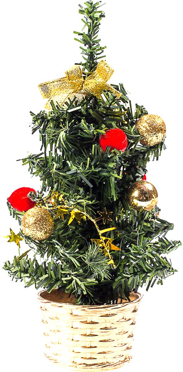 Милая наряженная елочка в корзинке украшена игрушками и мишурой. Она будет уместна и дома, и в офисе. Она преобразит пространство, подарив праздник и новогоднее настроение. Небольшой размер елочки позволит разместить ее где угодно.