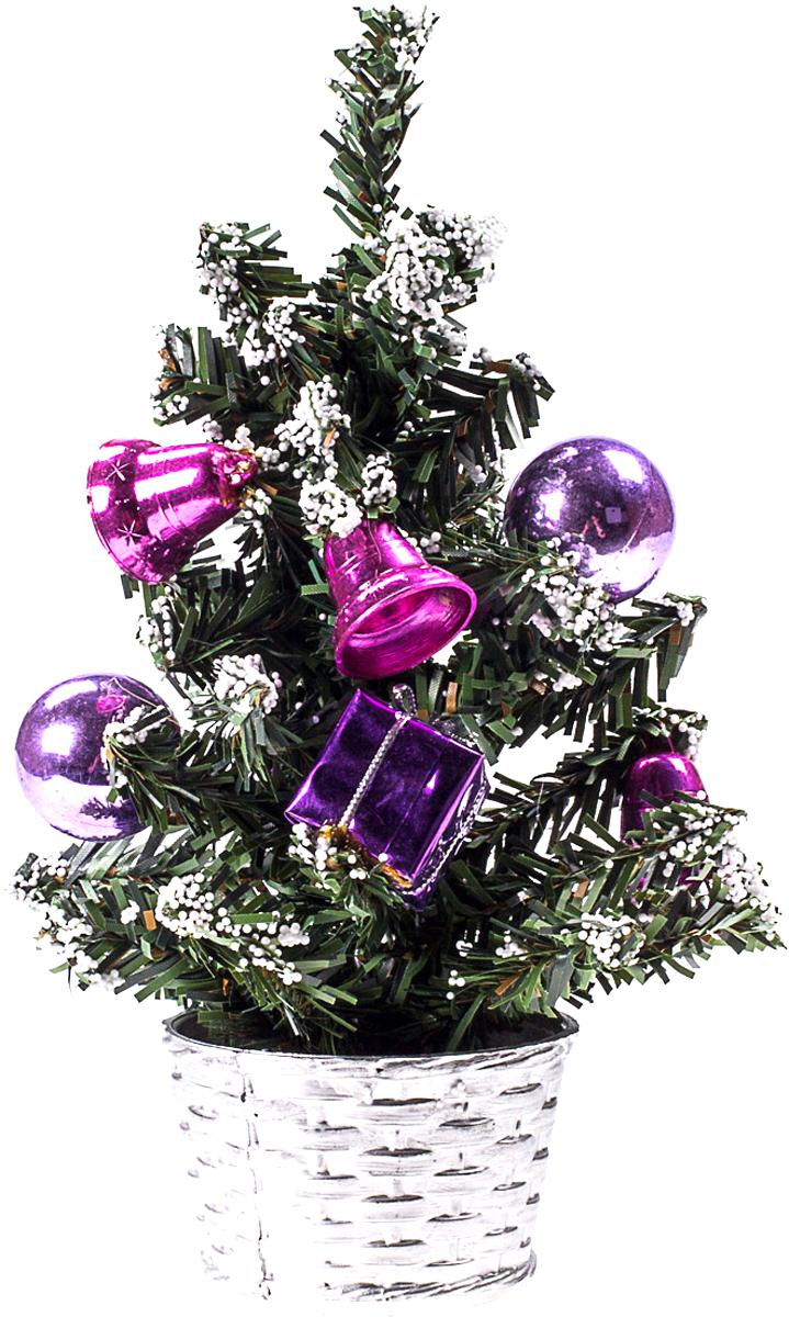 Елка настольная c игрушками Vita Pelle, 20 см. K11EL4029K11EL4029Милая наряженная елочка в корзинке украшена игрушками и мишурой. Она будет уместна и дома, и в офисе. Она преобразит пространство, подарив праздник и новогоднее настроение. Небольшой размер елочки позволит разместить ее где угодно.