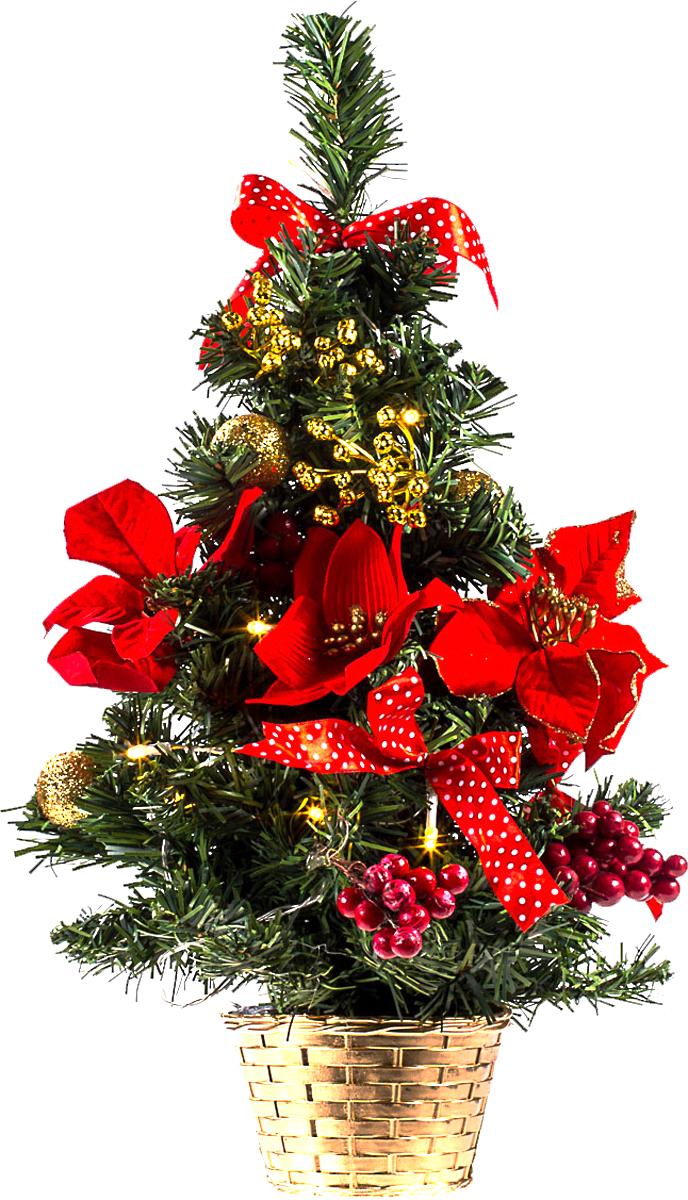 Елка настольная c игрушками и гирляндой Vita Pelle, 50 см. K11EL5001K11EL5001Милая наряженная елочка в корзинке украшена игрушками, мишурой и гирляндой. Она будет уместна и дома, и в офисе. Весело подмигивая всеми своими огоньками, она преобразит пространство, подарив праздник и новогоднее настроение.