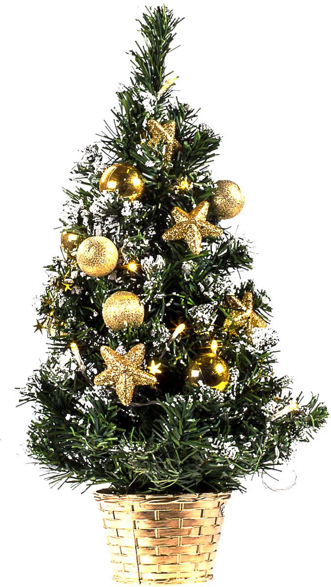 Елка настольная c игрушками и гирляндой Vita Pelle, 50 см. K11EL5003K11EL5003Милая наряженная елочка в корзинке украшена игрушками, мишурой и гирляндой. Она будет уместна и дома, и в офисе. Весело подмигивая всеми своими огоньками, она преобразит пространство, подарив праздник и новогоднее настроение.