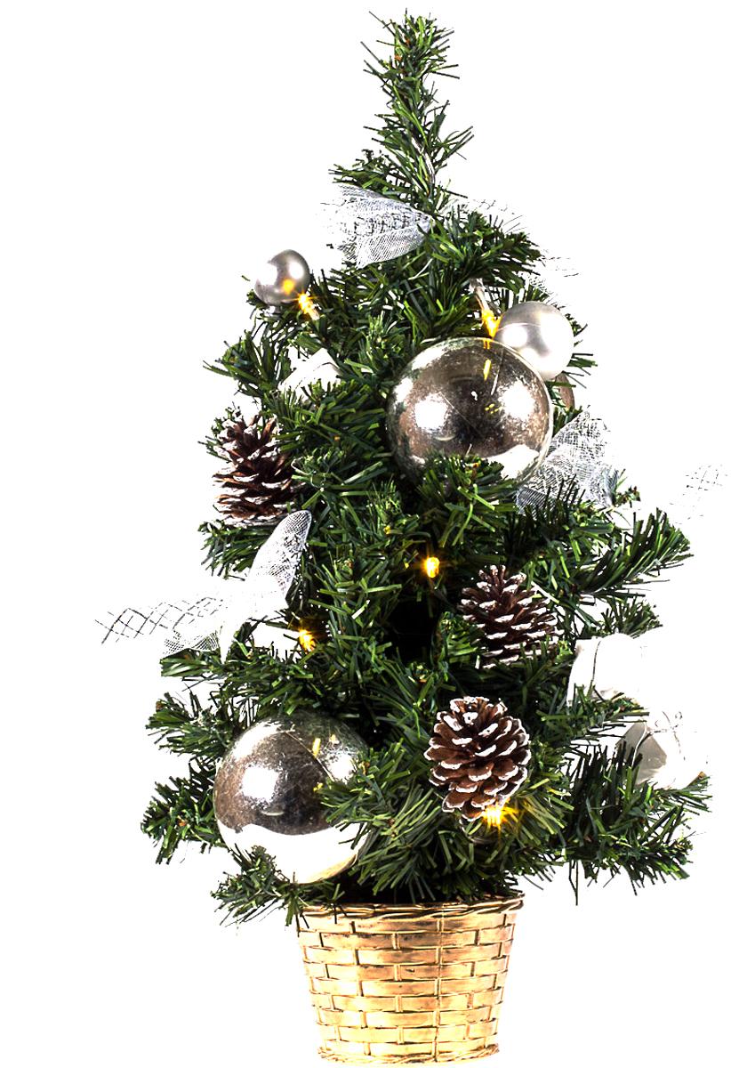 Елка настольная c игрушками и гирляндой Vita Pelle, 50 см. K11EL5005K11EL5005Милая наряженная елочка в корзинке украшена игрушками, мишурой и гирляндой. Она будет уместна и дома, и в офисе. Весело подмигивая всеми своими огоньками, она преобразит пространство, подарив праздник и новогоднее настроение.
