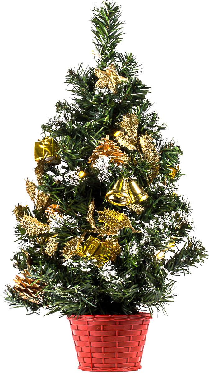 Елка настольная c игрушками и гирляндой Vita Pelle, 50 см. K11EL5006K11EL5006Милая наряженная елочка в корзинке украшена игрушками, мишурой и гирляндой. Она будет уместна и дома, и в офисе. Весело подмигивая всеми своими огоньками, она преобразит пространство, подарив праздник и новогоднее настроение.