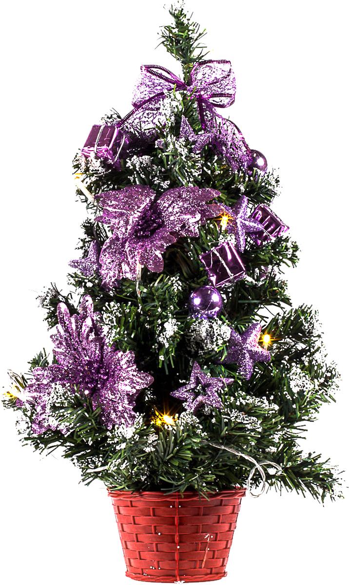 Елка настольная c игрушками и гирляндой Vita Pelle, 50 см. K11EL5009K11EL5009Милая наряженная елочка в корзинке украшена игрушками, мишурой и гирляндой. Она будет уместна и дома, и в офисе. Весело подмигивая всеми своими огоньками, она преобразит пространство, подарив праздник и новогоднее настроение.