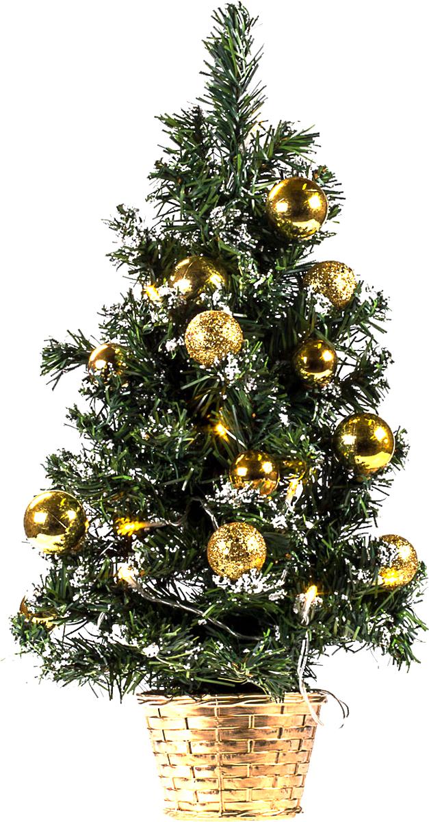 Елка настольная c игрушками и гирляндой Vita Pelle, 50 см. K11EL5010K11EL5010Милая наряженная елочка в корзинке украшена игрушками, мишурой и гирляндой. Она будет уместна и дома, и в офисе. Весело подмигивая всеми своими огоньками, она преобразит пространство, подарив праздник и новогоднее настроение.