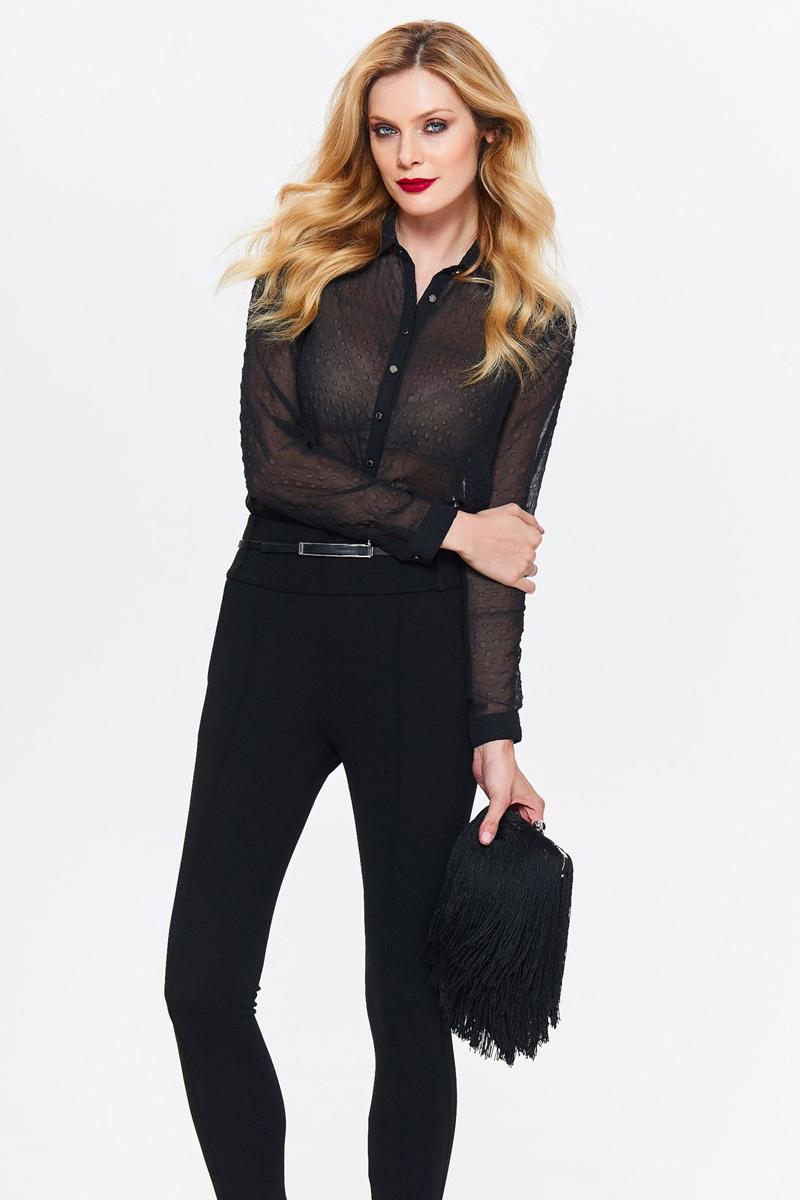 Рубашка женская Top Secret, цвет: черный. SKL2439CA. Размер 40 (48)SKL2439CAСтильная женская рубашка от Top Secret выполнена из полупрозрачного материала. Модель с длинными рукавами и отложным воротником застегивается на пуговицы.
