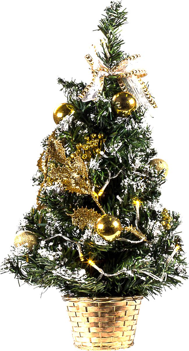 Елка настольная c игрушками и гирляндой Vita Pelle, 50 см. K11EL5011K11EL5011Милая наряженная елочка в корзинке украшена игрушками, мишурой и гирляндой. Она будет уместна и дома, и в офисе. Весело подмигивая всеми своими огоньками, она преобразит пространство, подарив праздник и новогоднее настроение.