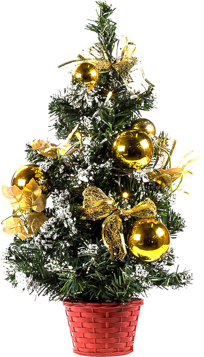 Елка настольная c игрушками и гирляндой Vita Pelle, 50 см. K11EL5013K11EL5013Милая наряженная елочка в корзинке украшена игрушками, мишурой и гирляндой. Она будет уместна и дома, и в офисе. Весело подмигивая всеми своими огоньками, она преобразит пространство, подарив праздник и новогоднее настроение.