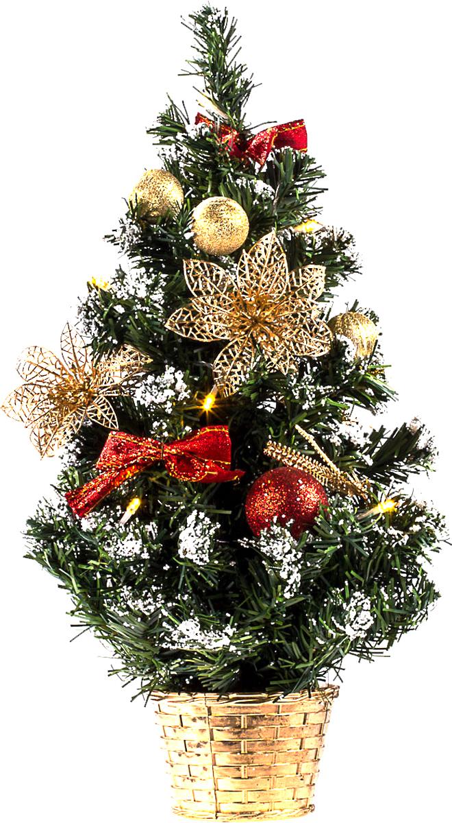 Елка настольная c игрушками и гирляндой Vita Pelle, 50 см. K11EL5014K11EL5014Милая наряженная елочка в корзинке украшена игрушками, мишурой и гирляндой. Она будет уместна и дома, и в офисе. Весело подмигивая всеми своими огоньками, она преобразит пространство, подарив праздник и новогоднее настроение.