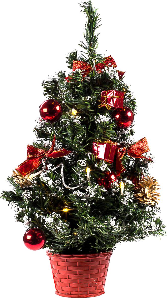Елка настольная c игрушками и гирляндой Vita Pelle, 50 см. K11EL5015K11EL5015Милая наряженная елочка в корзинке украшена игрушками, мишурой и гирляндой. Она будет уместна и дома, и в офисе. Весело подмигивая всеми своими огоньками, она преобразит пространство, подарив праздник и новогоднее настроение.
