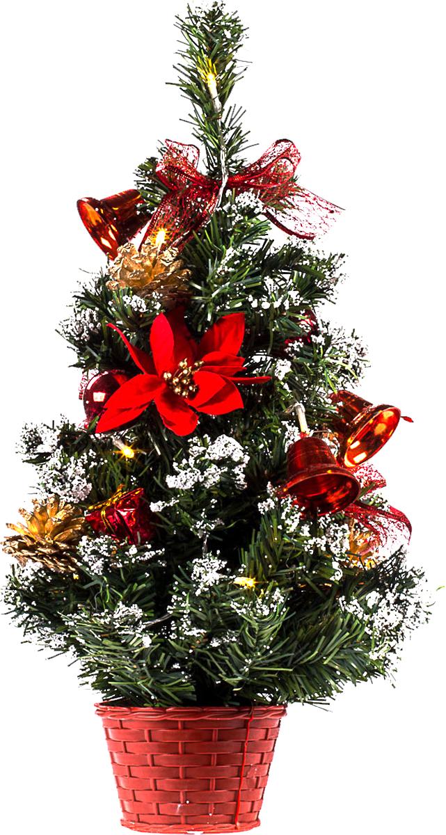 Елка настольная c игрушками и гирляндой Vita Pelle, 50 см. K11EL5017K11EL5017Милая наряженная елочка в корзинке украшена игрушками, мишурой и гирляндой. Она будет уместна и дома, и в офисе. Весело подмигивая всеми своими огоньками, она преобразит пространство, подарив праздник и новогоднее настроение.