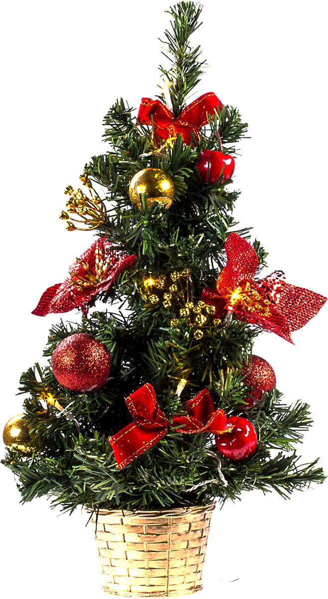 Елка настольная c игрушками и гирляндой Vita Pelle, 50 см. K11EL5018K11EL5018Милая наряженная елочка в корзинке украшена игрушками, мишурой и гирляндой. Она будет уместна и дома, и в офисе. Весело подмигивая всеми своими огоньками, она преобразит пространство, подарив праздник и новогоднее настроение.