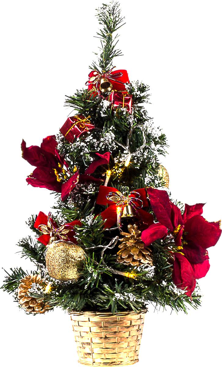 Елка настольная c игрушками и гирляндой Vita Pelle, 50 см. K11EL5020K11EL5020Милая наряженная елочка в корзинке украшена игрушками, мишурой и гирляндой. Она будет уместна и дома, и в офисе. Весело подмигивая всеми своими огоньками, она преобразит пространство, подарив праздник и новогоднее настроение.