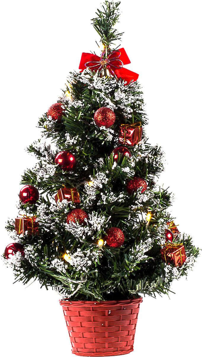 Елка настольная c игрушками и гирляндой Vita Pelle, 50 см. K11EL5021K11EL5021Милая наряженная елочка в корзинке украшена игрушками, мишурой и гирляндой. Она будет уместна и дома, и в офисе. Весело подмигивая всеми своими огоньками, она преобразит пространство, подарив праздник и новогоднее настроение.