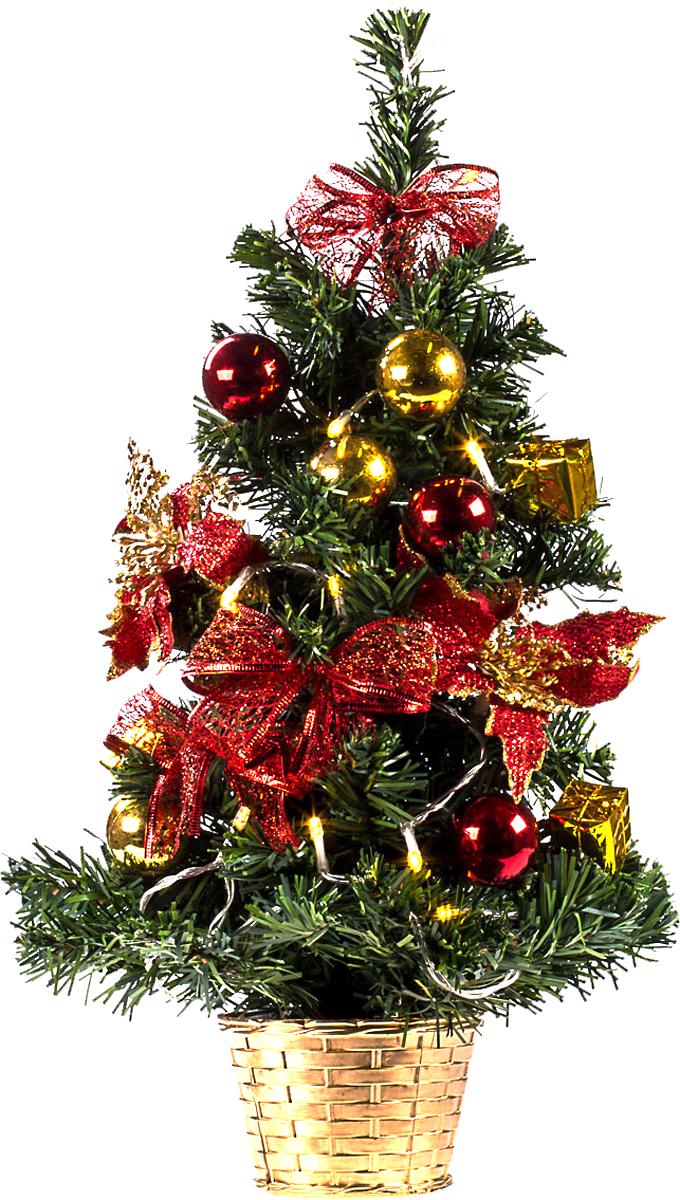 Елка настольная c игрушками и гирляндой Vita Pelle, 50 см. K11EL5022K11EL5022Милая наряженная елочка в корзинке украшена игрушками, мишурой и гирляндой. Она будет уместна и дома, и в офисе. Весело подмигивая всеми своими огоньками, она преобразит пространство, подарив праздник и новогоднее настроение.
