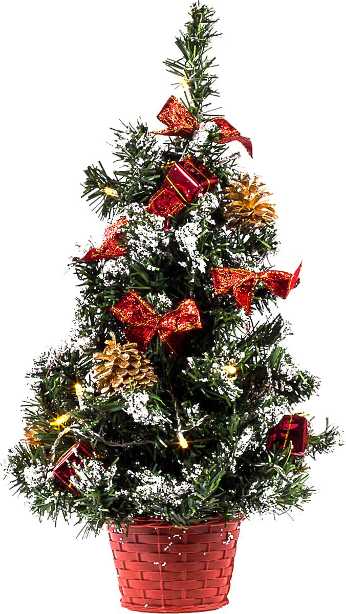 Елка настольная c игрушками и гирляндой Vita Pelle, 50 см. K11EL5024K11EL5024Милая наряженная елочка в корзинке украшена игрушками, мишурой и гирляндой. Она будет уместна и дома, и в офисе. Весело подмигивая всеми своими огоньками, она преобразит пространство, подарив праздник и новогоднее настроение.