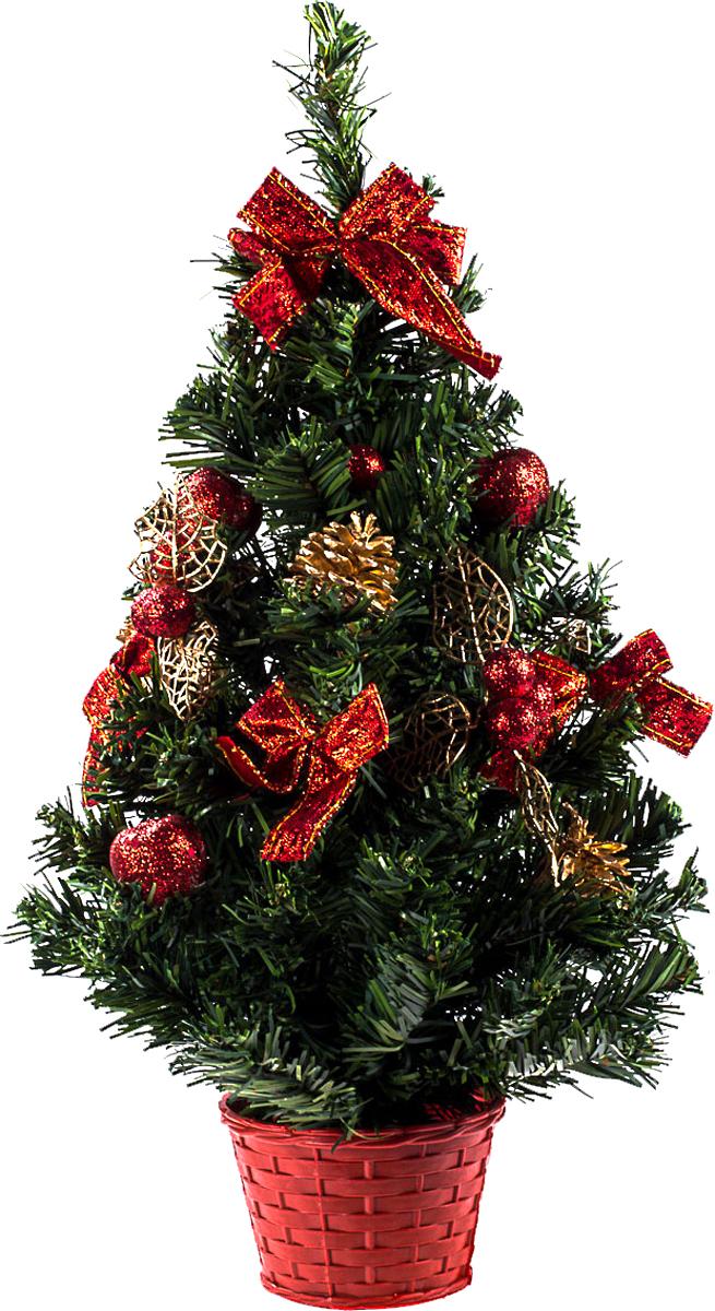 Елка настольная c игрушками Vita Pelle, 50 см. K11EL5054K11EL5054Милая наряженная елочка в корзинке украшена игрушками и мишурой. Она будет уместна и дома, и в офисе. Она преобразит пространство, подарив праздник и новогоднее настроение. Небольшой размер елочки позволит разместить ее где угодно.