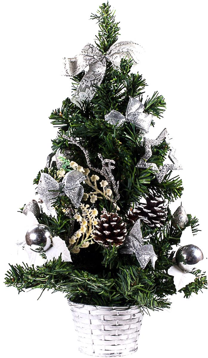 Елка настольная c игрушками Vita Pelle, 50 см. K11EL5059K11EL5059Милая наряженная елочка в корзинке украшена игрушками и мишурой. Она будет уместна и дома, и в офисе. Она преобразит пространство, подарив праздник и новогоднее настроение. Небольшой размер елочки позволит разместить ее где угодно.