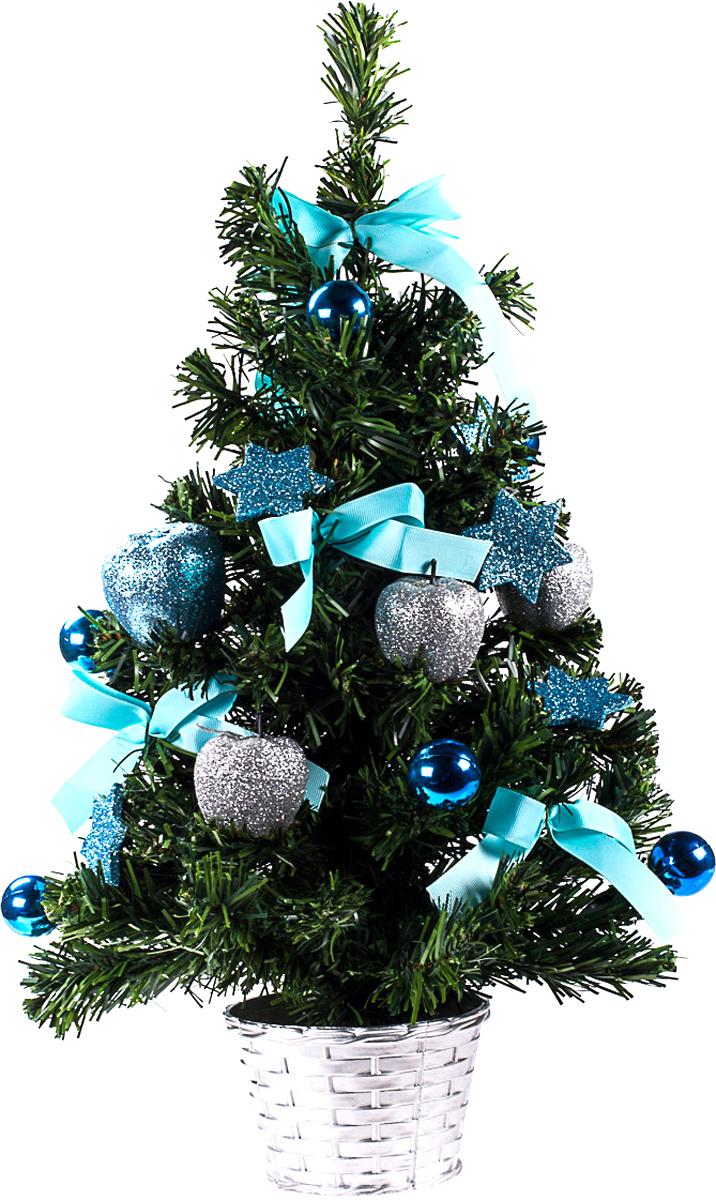 Елка настольная c игрушками Vita Pelle, 50 см. K11EL5061K11EL5061Милая наряженная елочка в корзинке украшена игрушками и мишурой. Она будет уместна и дома, и в офисе. Она преобразит пространство, подарив праздник и новогоднее настроение. Небольшой размер елочки позволит разместить ее где угодно.