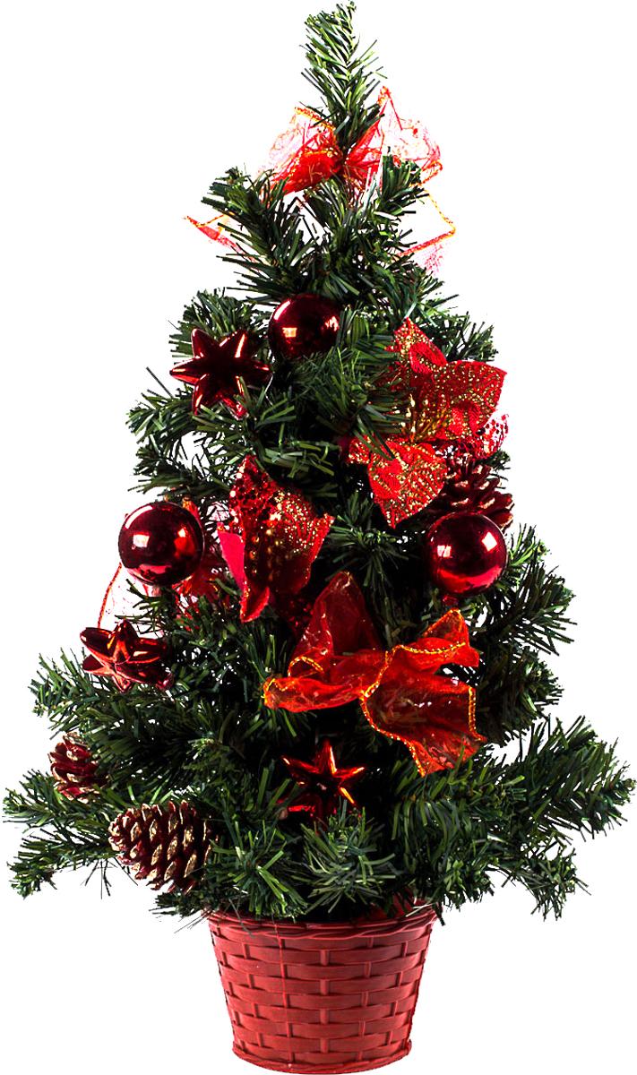 Елка настольная c игрушками Vita Pelle, 50 см. K11EL5063K11EL5063Милая наряженная елочка в корзинке украшена игрушками и мишурой. Она будет уместна и дома, и в офисе. Она преобразит пространство, подарив праздник и новогоднее настроение. Небольшой размер елочки позволит разместить ее где угодно.