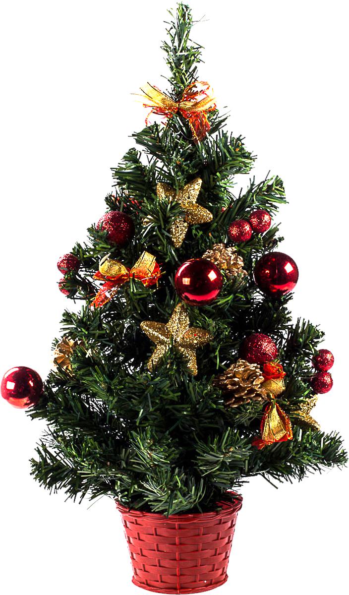 Елка настольная c игрушками Vita Pelle, 50 см. K11EL5066K11EL5066Милая наряженная елочка в корзинке украшена игрушками и мишурой. Она будет уместна и дома, и в офисе. Она преобразит пространство, подарив праздник и новогоднее настроение. Небольшой размер елочки позволит разместить ее где угодно.