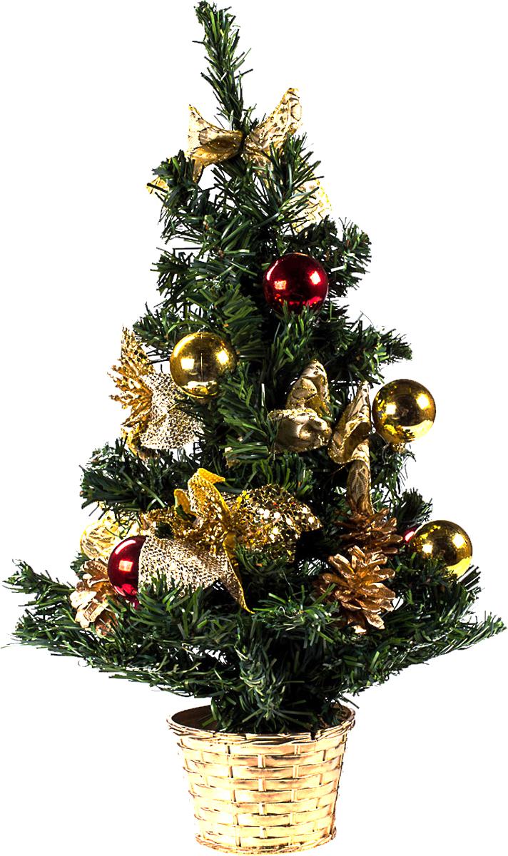 Елка настольная c игрушками Vita Pelle, 50 см. K11EL5067K11EL5067Милая наряженная елочка в корзинке украшена игрушками и мишурой. Она будет уместна и дома, и в офисе. Она преобразит пространство, подарив праздник и новогоднее настроение. Небольшой размер елочки позволит разместить ее где угодно.