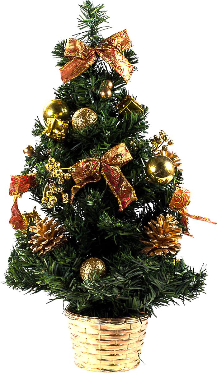 Елка настольная c игрушками Vita Pelle, 50 см. K11EL5068K11EL5068Милая наряженная елочка в корзинке украшена игрушками и мишурой. Она будет уместна и дома, и в офисе. Она преобразит пространство, подарив праздник и новогоднее настроение. Небольшой размер елочки позволит разместить ее где угодно.