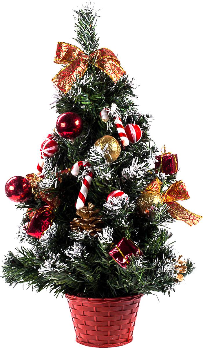 Елка настольная c игрушками Vita Pelle, 50 см. K11EL5072K11EL5072Милая наряженная елочка в корзинке украшена игрушками и мишурой. Она будет уместна и дома, и в офисе. Она преобразит пространство, подарив праздник и новогоднее настроение. Небольшой размер елочки позволит разместить ее где угодно.