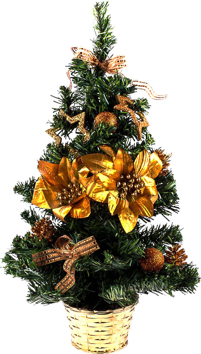 Елка настольная c игрушками Vita Pelle, 50 см. K11EL5076K11EL5076Милая наряженная елочка в корзинке украшена игрушками и мишурой. Она будет уместна и дома, и в офисе. Она преобразит пространство, подарив праздник и новогоднее настроение. Небольшой размер елочки позволит разместить ее где угодно.