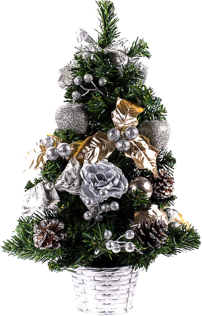 Елка настольная c игрушками Vita Pelle, 50 см. K11EL5077K11EL5077Милая наряженная елочка в корзинке украшена игрушками и мишурой. Она будет уместна и дома, и в офисе. Она преобразит пространство, подарив праздник и новогоднее настроение. Небольшой размер елочки позволит разместить ее где угодно.