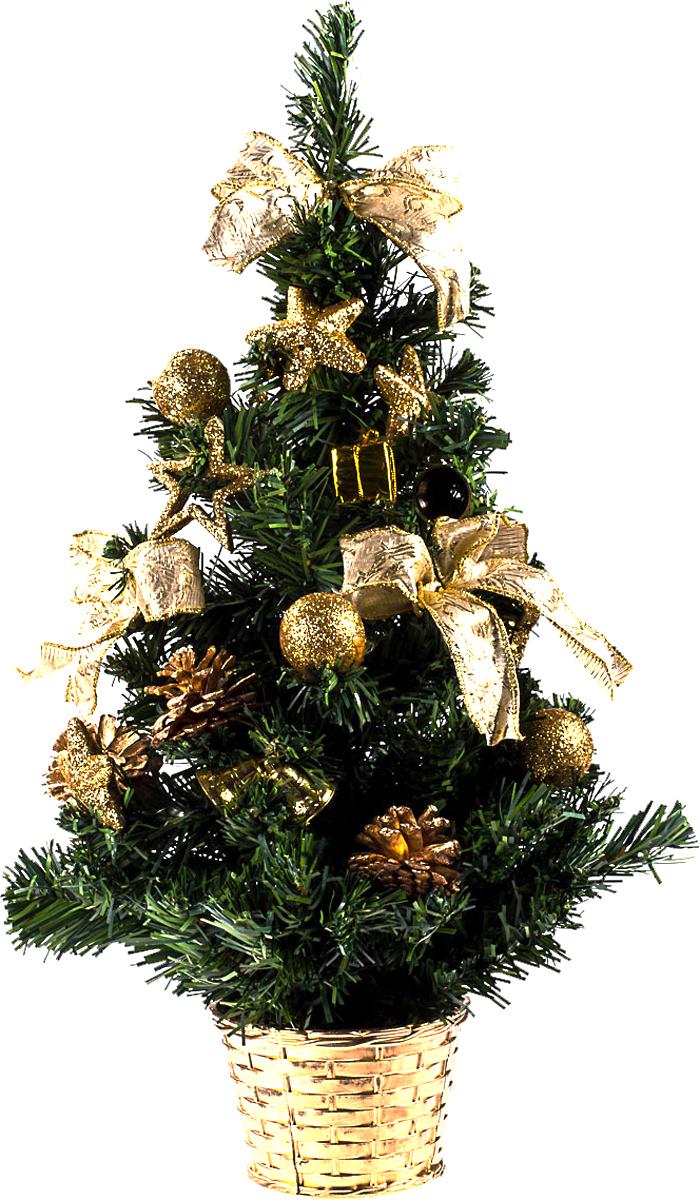 Елка настольная c игрушками Vita Pelle, 50 см. K11EL5083K11EL5083Милая наряженная елочка в корзинке украшена игрушками и мишурой. Она будет уместна и дома, и в офисе. Она преобразит пространство, подарив праздник и новогоднее настроение. Небольшой размер елочки позволит разместить ее где угодно.