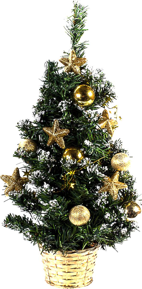 Елка настольная c игрушками Vita Pelle, 50 см. K11EL5086K11EL5086Милая наряженная елочка в корзинке украшена игрушками и мишурой. Она будет уместна и дома, и в офисе. Она преобразит пространство, подарив праздник и новогоднее настроение. Небольшой размер елочки позволит разместить ее где угодно.