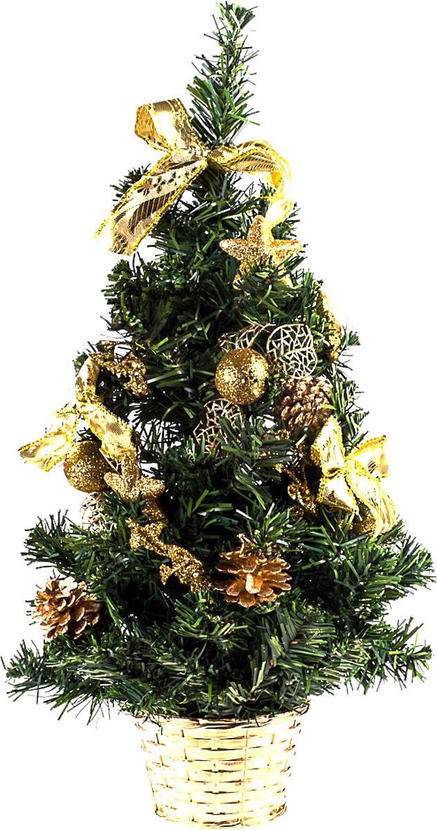 Елка настольная c игрушками Vita Pelle, 50 см. K11EL5087K11EL5087Милая наряженная елочка в корзинке украшена игрушками и мишурой. Она будет уместна и дома, и в офисе. Она преобразит пространство, подарив праздник и новогоднее настроение. Небольшой размер елочки позволит разместить ее где угодно.
