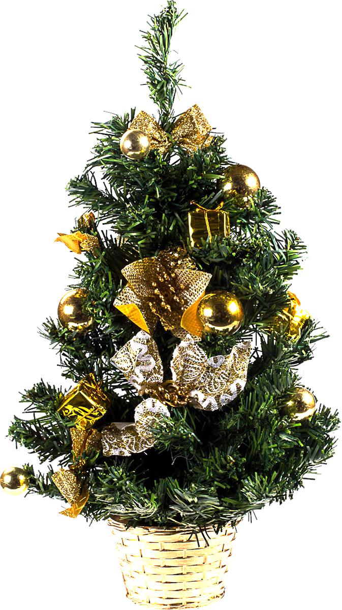 Елка настольная c игрушками Vita Pelle, 50 см. K11EL5089K11EL5089Милая наряженная елочка в корзинке украшена игрушками и мишурой. Она будет уместна и дома, и в офисе. Она преобразит пространство, подарив праздник и новогоднее настроение. Небольшой размер елочки позволит разместить ее где угодно.