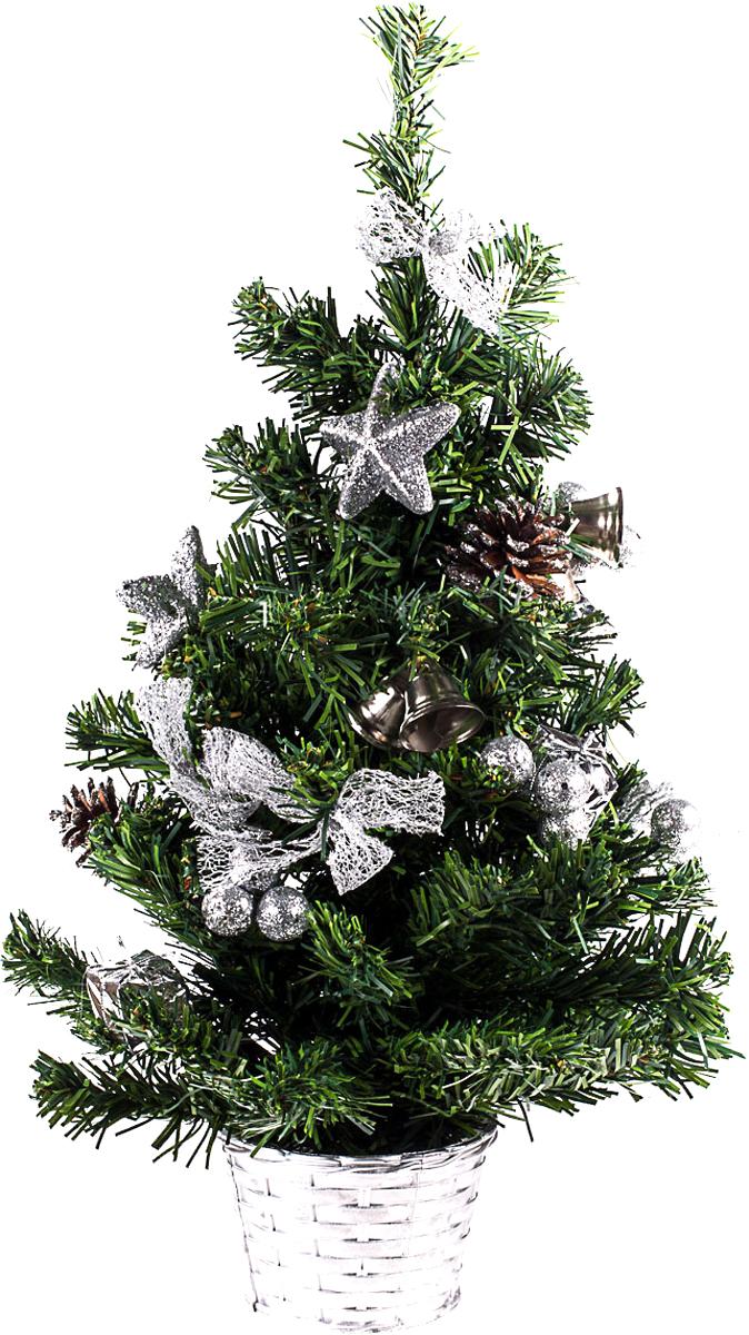 Елка настольная c игрушками Vita Pelle, 50 см. K11EL5091K11EL5091Милая наряженная елочка в корзинке украшена игрушками и мишурой. Она будет уместна и дома, и в офисе. Она преобразит пространство, подарив праздник и новогоднее настроение. Небольшой размер елочки позволит разместить ее где угодно.