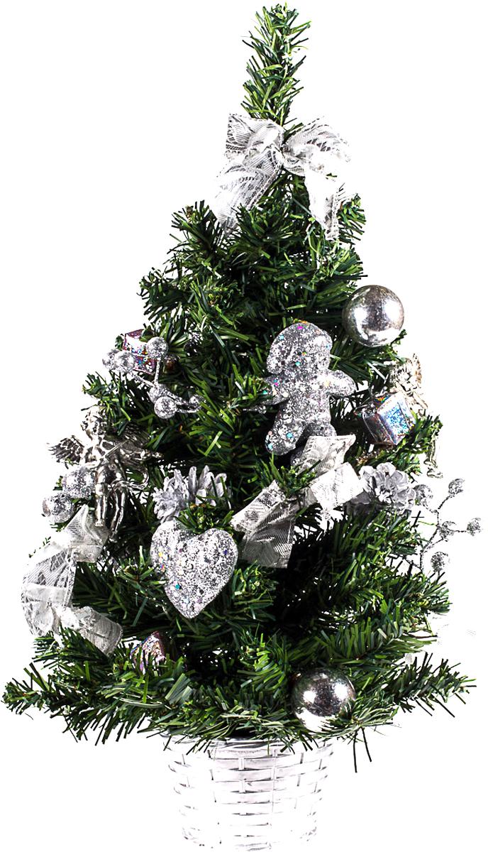 Елка настольная c игрушками Vita Pelle, 50 см. K11EL5095K11EL5095Милая наряженная елочка в корзинке украшена игрушками и мишурой. Она будет уместна и дома, и в офисе. Она преобразит пространство, подарив праздник и новогоднее настроение. Небольшой размер елочки позволит разместить ее где угодно.